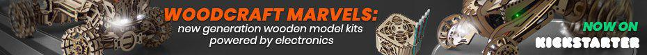 Woodcraft Marvels: wooden model kits powered by electronics